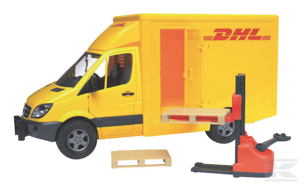 BRUDER 2534 MB Sprinter DHL s ručním zvedacím vozíkem