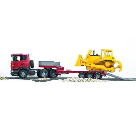 BRUDER 3555 SCANIA R-série tahač s CAT buldozerem