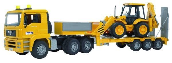 BRUDER 2776 Nákladní auto MAN návěs + traktor JCB 4CX