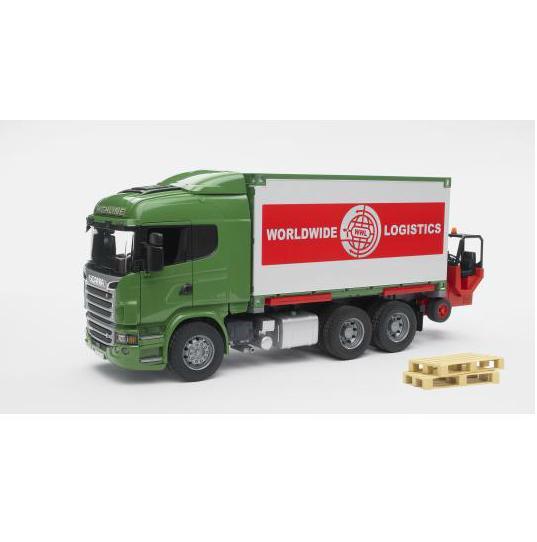 BRUDER 3580 SCANIA R-série nákladní auto s kontejnerem a vysokozdivžným vozíkem