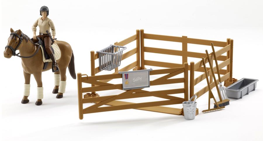 BRUDER 62500 Bworld jezdecký set - ohrada, kůň, jezdec