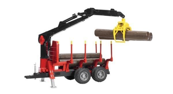 BRUDER 2252 Vyvážecí přívěs na dřevo s nakladačem