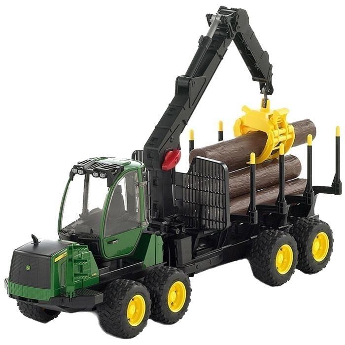 BRUDER 2133 Lesnický traktor John Deere 1210E s přívěsem na dřevo