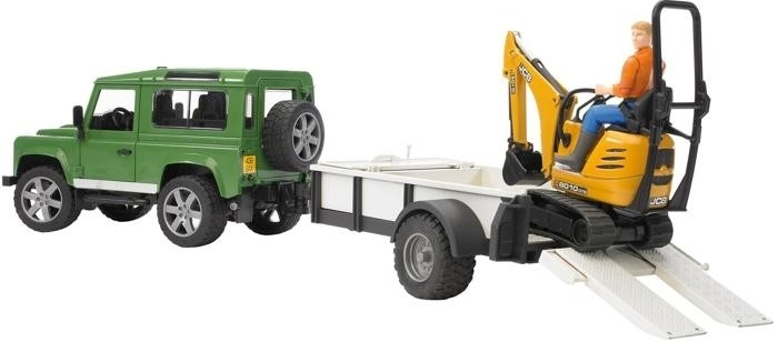 BRUDER 2593 Land Rover Defender s přepravníkem, minibagrem JCB a dělníkem