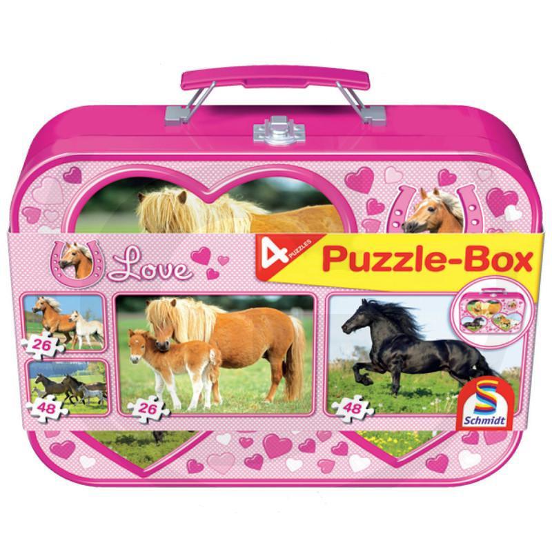 SCHMIDT 55588 Puzzle koně v kovovém boxu, 2x26, 2x48 dílků