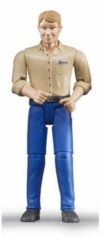 BRUDER 60006 B-world figurka muž blondýn s nízkými botami, modré kalhoty