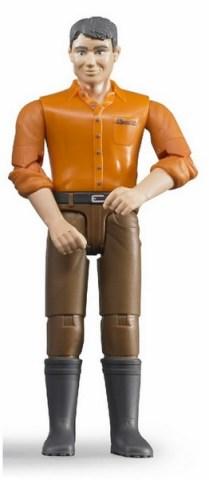 BRUDER 60007 B-world figurka muž brunet s holínkami, hnědé kalhoty