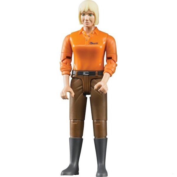 BRUDER 60407 B-world figurka žena blondýna, hnědé kalhoty