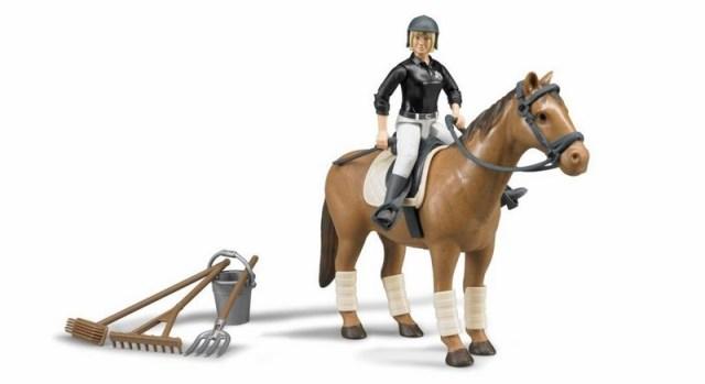 62505 Bworld jezdecký set - kůň, jezkyně a příslušenství