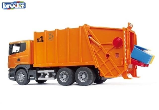 BRUDER 3560 SCANIA R-série popelářský vůz oranžový