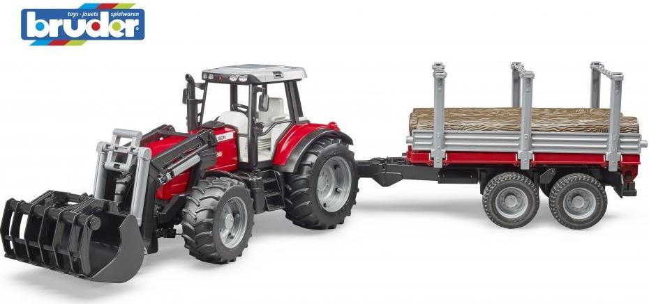 BRUDER 2046 Traktor Massey Ferguson 7480 s nakladačem a přívěsem na dřevo